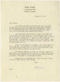 "Autographs:Celebrities, Glenn Gould Typed Letter Secretarially Signed ""Glenn/vs"".One page, 7.25"" x 10"", personal letterhead, October 21, 1959, ..."