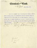 """Autographs:Celebrities, Hetty Green, The Witch of Wall Street, Rare Typed Document Signed """"Hetty H.R. Green"""", one page, 8"""" x 11"""", on the letterh..."""