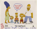 "Autographs:Artists, Matt Groening The Simpsons Color Photo Signed with Sketch. A10"" x 8"" color ""cast"" photo signed at the bottom margin..."