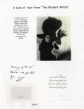 Miscellaneous:Ephemera, Margaret Hamilton, The Wicked Witch from Wizard of Oz: ASample of her Hair with a Personal Note. Copy of a note in repl...