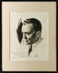 "Autographs:Statesmen, J. Edgar Hoover Signed Sketch One page, 8"" x 10"" portrait sketch ofa young Hoover inscribed ""To Erle B Slack, Best Wishes..."