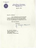 "Autographs:Statesmen, J. Edgar Hoover Typed Letter Signed ""J. Edgar Hoover"". OnePage, 8"" x 10"", Washington, D.C., May 26, 1961. This boldly s..."
