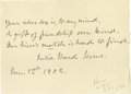 "Autographs:Authors, Julia Ward Howe Original Autograph Manuscript Signed in full. Onepage, 5.5"" x 8"", [Boston], January 1, 1902. A poem written..."