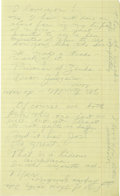 Autographs:Celebrities, Handwritten Howard Hughes Note to Wife Jean Peters Hughes and hiswife had an interesting relationship- separate rooms and c...
