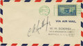 "Transportation:Aviation, Charles A. Lindbergh First Day Cover Signed ""C. A.Lindbergh"". An addressed Air Mail envelope of 6.5"" x 3.625"",cancelle..."
