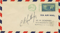 "Charles A. Lindbergh First Day Cover Signed ""C. A. Lindbergh"". An addressed Air Mail envelope of 6.5"" x 3..."