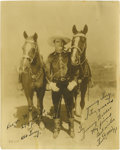 "Autographs:Celebrities, Tom Mix Signed Photograph. Signed: Tom E. Mix, 8"" x 9.75"", np, nd. Tom Mix was America's first Western movie star. Mix w..."