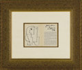 "Autographs:Artists, Pablo Picasso Autograph and Sketch. 7.25"" x 11"", 1946. An art exhibition booklet, Le Cubisme 1911-1918, is open to pages..."