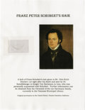 Miscellaneous:Ephemera, Composer Franz Schubert: A Substantial Sample of his Hair.Accompanied by full provenance and a certificate of authenticity...