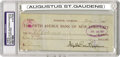 "Autographs:Artists, Augustus Saint Gaudens Signed Check, 2.75"" x 7.25"", drawn on theFifth Avenue Bank of New York City for $1 payable to an ""..."