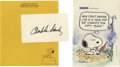 "Autographs:Artists, Charles M. Schulz Signed Cartoon and Signature. The first item is acolor printed cartoon clipped from a book, 5"" x 7"" pictu... (Total:3 )"