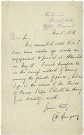 """Autographs:Celebrities, """"Prince of Preachers"""" Charles Spurgeon Autograph Letter Signed """"C. H. Spurgeon"""". One page, 5"""" x 7"""", Westwood, March 5, 1..."""