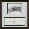"Autographs:Inventors, Orville Wright Signed Check ""Orville Wright"". One page, 8.5""x 3"", Dayton, Ohio, March 9, 1917. This lovely display feat..."