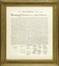 "Military & Patriotic:Revolutionary War, ""When in the Course of human events..."". Peter Forceprinting of The Declaration of Independence, one page, ornate..."