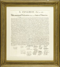 """""""When in the Course of human events...""""  Peter Force printing of The Declaration of Independence, one page, or..."""