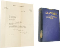 "Richard E. Byrd 1928 Typed Letter Signed and Skyward Book Signed by Crew. The first item offered is a TLS ""R E Byr..."