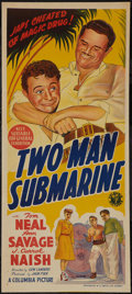 "Movie Posters:War, Two-Man Submarine (Columbia, 1944). Australian Daybill (13"" X 30"").War.. ..."