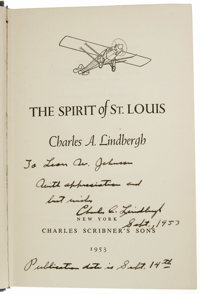 Charles A. Lindbergh: A Signed Inscribed 1st Edition Copy of The Spirit of St. Louis. Clothbound copy of the 1st 1953 Sc...