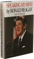 Books:Signed Editions, Ronald Reagan Signed Book: Speaking My Mind. (New York:Simon and Schuster, 1989), 432 pages, multiple photos in the int...