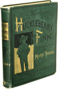 Books:First Editions, First Edition Mark Twain's Huckleberry Finn Offered here isa true first edition, first printing of Mark Twain's most po...