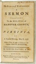 "Books:Pamphlets & Tracts, 1758 Printed Sermon: ""The Curse of Cowardice"". Samuel Davies, A.M.:The Curse of Cowardice: A Sermon Preached to the Milit..."
