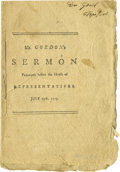 Books:Pamphlets & Tracts, 1775 Printed Sermon Pamphlet. A Revolutionary War era printedsermon, Mr. Gordon's Sermon Preached before the House ofRep...