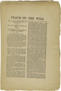 "Books:Pamphlets & Tracts, ""Fraud on the Will"" Pamphlet from 1879, Regarding Brigham Young.Twenty pages, 6.25"" x 9.5"", Salt Lake City, Utah, nd. This ..."