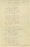"""Autographs:Authors, A Fabulous """"America the Beautiful"""" Autograph Manuscript Signed byKatharine Lee Bates, a true copy. One page, 8"""" x 13"""", np n..."""