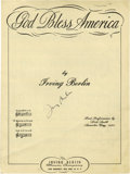 """Autographs:Authors, Irving Berlin Signs """"God Bless America"""" Sheet Music. Four pages, 9""""x 12"""", Berlin's signature in center of front page. Writt..."""