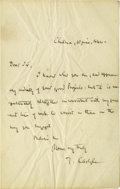 "Autographs:Authors, Thomas Carlyle Autograph Letter Signed, ""T Carlyle"". Onepage, 4.75"" x 8.75"", Chelsea, June 10, 1844, to unknown recipie..."