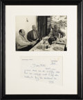 "Autographs:Authors, Ernest Hemingway Autograph Letter Signed ""E H"", one page,7.75"" x 6"", Madrid, Spain, July 15, 1959, to ""Bill"". In 1959 a..."