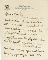 """Ernest Hemingway Autograph Letter Signed """"Ernest"""". Three pages, New York, nd. The letter, written on """"The..."""