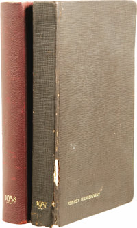 Ernest Hemingway's Daybooks 1937/38. Two volumes, 448 pages each. One 1937 copy & One 1938 copy of Warner's Calendar...
