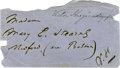 "Autographs:Authors, Victor Hugo Autograph Envelope Addressed to a Boston Abolitionist.Signed ""V. H."", 5"" x 2.5"", np, nd. Boldly penned in d..."