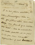 "Autographs:Authors, Adele Victor Hugo Autograph Note Signed. Two pages, 4"" x 5.25"", np,July 25. This note is written entirely in French. Adele ..."