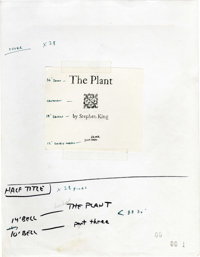 Stephen King's Galley and Typed Manuscript for The Plant. An amazing peek into the publication process of the modern mas...