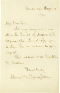 "Autographs:Authors, Henry Wadsworth Longfellow Autograph Letter Signed ""Henry W.Longfellow"". One page, 4.5"" x 7"", Cambridge, September 10, ..."