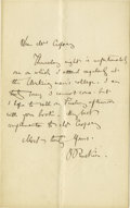 "Autographs:Authors, John Ruskin Autograph Letter Signed ""J. Ruskin"". One page, 4.5"" x 7"", np, nd, to Mr. [Jasper Francis] Cropsey, an artist..."