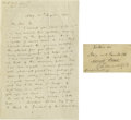 "Autographs:Authors, John Ruskin Autograph Letter Signed ""J. Ruskin"". Two pages,5"" x 8"", Altorf, August 26, 1860, to A. G. Agnew. In part: ""..."