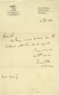 "Autographs:Authors, Bram Stoker Autograph Note Signed. One page, 5.75"" x 9.25"", on Hotel Metropole letterhead, Philadelphia, February 2, 1894 to..."