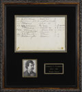 """Autographs:Authors, Samuel L. Clemens [Mark Twain] Signed Hotel Register. Sheet clipped from a hotel's guest register, 11"""" x 7.5"""", likely Missou..."""