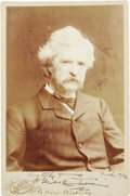 "Autographs:Authors, Mark Twain Photograph Signed ""Very Truly Yours Mark Twain"",4.25"" x 6.5"", np, October, 1906. This handsome cabinet card ..."