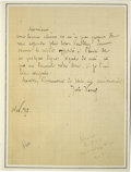 "Autographs:Authors, Jules Verne Autograph Letter Signed ""Jules Verne."" One page, 4.25"" x 5.75"", np, November, 1890. Untranslated letter ..."