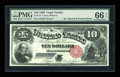 Large Size:Legal Tender Notes, Fr. 113 $10 1880 Legal Tender PMG Gem Uncirculated 66 EPQ....