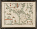 Miscellaneous:Maps, Petrus Bertius Map of The Americas 1624. Published by PetrusBertius (1565-1629), being a close copy of Jodocus Hondius' map...