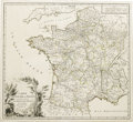 Miscellaneous:Maps, 1758 Map of France. This map of France was done by Robert deVaugondy. It has hand-colored borders, partially shown relief, ...