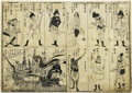 Antiques:Posters & Prints, 1800s Japanese Woodblock Print illustrating the Japanese stylized concept of the appearance of Western European people. A 19...