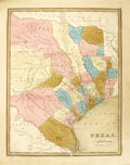 """Antiques:Posters & Prints, Thomas G. Bradford's Map of Texas, 13"""" x 16.25"""", (Boston: Weeks,Jordan & Co., 1838). A great early view of an independent R..."""
