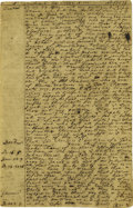 "Autographs:Authors, Colonial American Manuscript Sermon from 1732. Eight pages, 4"" x6"", on parchment, Southboro [Massachusetts]. August. 2, 173..."