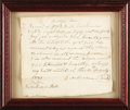 "Autographs:Statesmen, Slave Trade Autograph Note Signed. One page, 8"" x 7"", Framed,Orange, Virginia, July 16, 1831. A slave trade document for a..."
